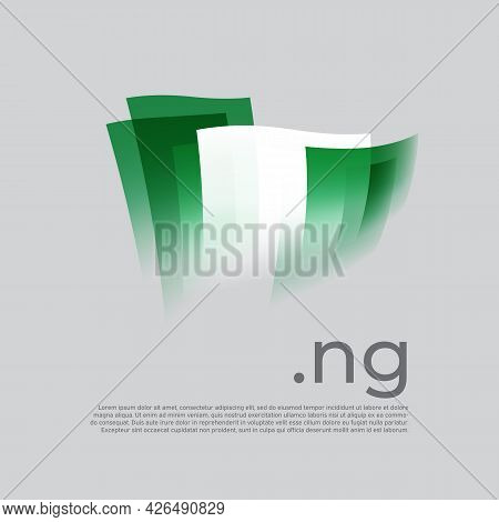 Nigeria Flag. Nigerian Flag Painted With Abstract Brush Strokes On A White Background. Vector Styliz