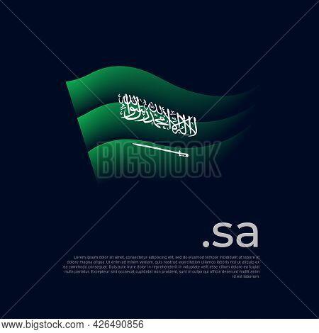 Saudi Arabia Flag. Stripes Colors Of The Saudi Arabian Flag On A Dark Background. Vector Stylized De