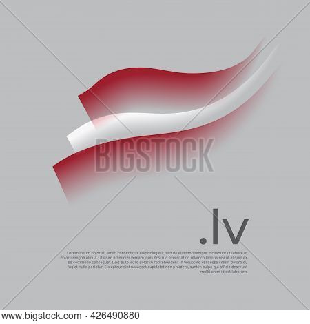 Latvia Flag Watercolor. Stripes Colors Of The Latvian Flag On A White Background. Vector Stylized De