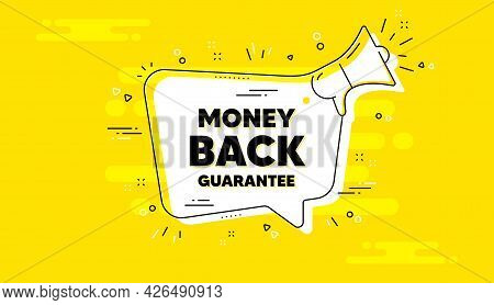 Money Back Guarantee. Alert Megaphone Yellow Chat Banner. Promo Offer Sign. Advertising Promotion Sy