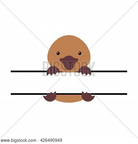 Cute Platypus Split Monogram. Funny Cartoon Character For Shirt, Scrapbooking, Print, Greeting Cards