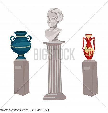 Antique Vases, A Bust Of A Human Head, Sights, A Museum Piece, Antique Sculpture, Greek Monuments. V