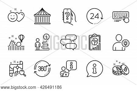 Technology Icons Set. Included Icon As Report, Smile, Talk Bubble Signs. Help App, User Idea, Comput
