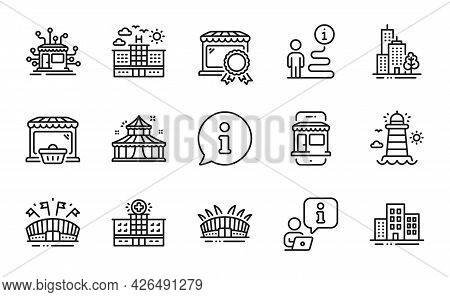 Buildings Icons Set. Included Icon As Online Market, Arena Stadium, Hotel Signs. Sports Arena, Best