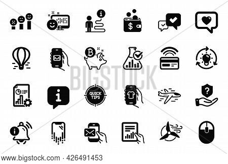 Vector Set Of Technology Icons Related To Smartphone Recovery, Windmill Turbine And Computer Mouse I