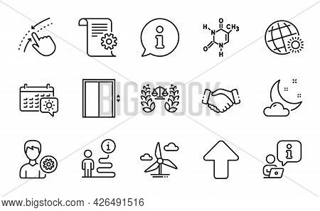 Business Icons Set. Included Icon As Upload, Windmill Turbine, Chemical Formula Signs. Lift, Support