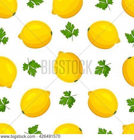 Pattern Of Lemons. Seamless Vector Pattern With Lemons. Vector Illustration