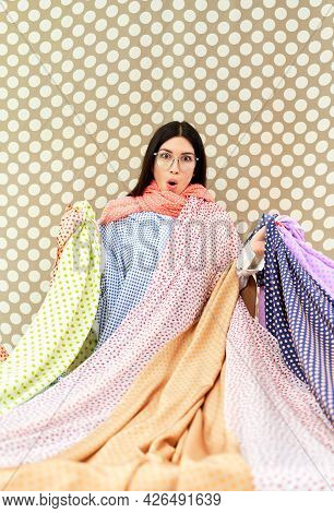 Attractive Female Dressmaker Or Designer Looking At Camera With Surprised Emotion Face Holding Colof