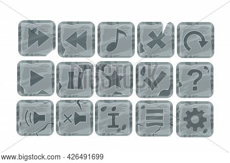 Stone Game Cartoon Vector Buttons, User Interface Rock Icon Set, Square Ui Menu Tiles Isolated On Wh
