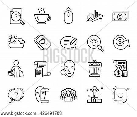 Vector Set Of Growth Chart, Banking And Attraction Line Icons Set. Swipe Up, Search Document And Doc