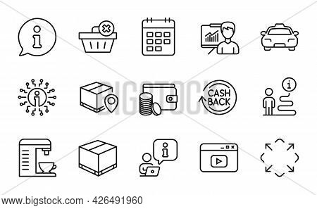 Line Icons Set. Included Icon As Delivery Box, Info, Parcel Tracking Signs. Cashback, Coffee Machine