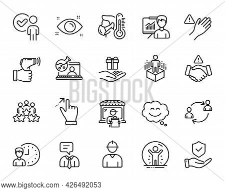 Vector Set Of User Communication, Recovered Person And Health Eye Line Icons Set. Support Service, T