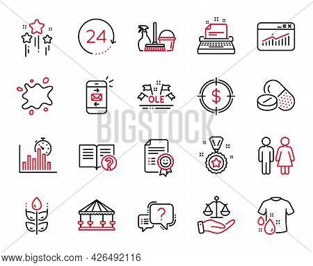 Vector Set Of Business Icons Related To Mail, Report Timer And Wash T-shirt Icons. Justice Scales, C