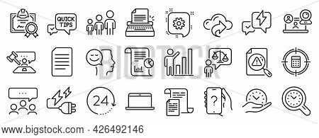 Set Of Education Icons, Such As Business Hierarchy, Quick Tips, Laptop Icons. Time Management, Elect