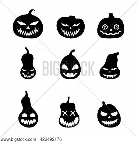 Halloween Set Of Silhouettes Scary Pumpkins. Illustration Of Jack-o-lantern Facial Expressions. Simp