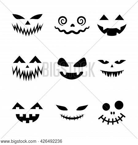 Scary And Funny Faces For Halloween Pumpkin Or Ghost Set. Jack-o-lantern Facial Expressions. Simple