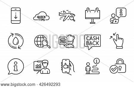 Line Icons Set. Included Icon As Refill Water, Money Transfer, Search Flight Signs. Chef, Web Search