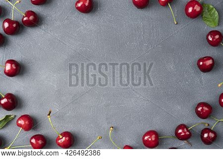 Sweet Cherry On A Grey Background Ripe Cherries Cherry Red View From Above Fruit Background Frame Of