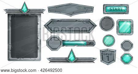 Stone Ui Game Vector Kit, Medieval Rock Signboard, Menu Frame, Gemstone Emerald Button, Level Up Shi