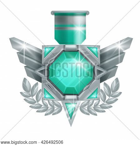 Game Badge Vector Icon, Rank Award Silver Medal, Level Up Achievement Trophy Illustration On White.