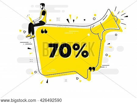 70 Percent Off Sale. Alert Megaphone Chat Banner With User. Discount Offer Price Sign. Special Offer