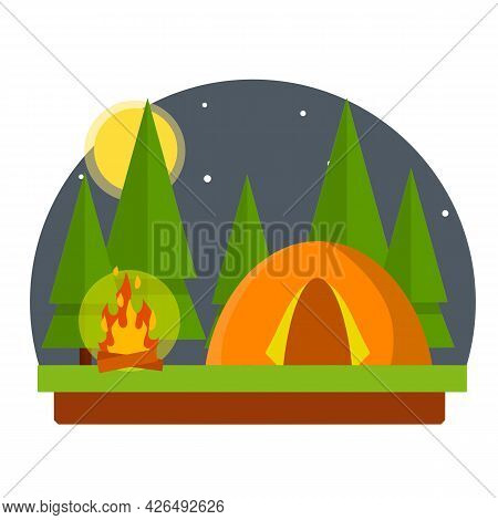 Orange Tent In The Woods. Trip To Nature. Outdoor Activity. Camp And Hike.