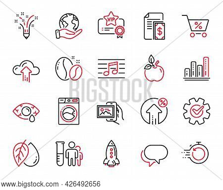 Vector Set Of Business Icons Related To Image Album, Cloud Upload And Washing Machine Icons. Fast Re