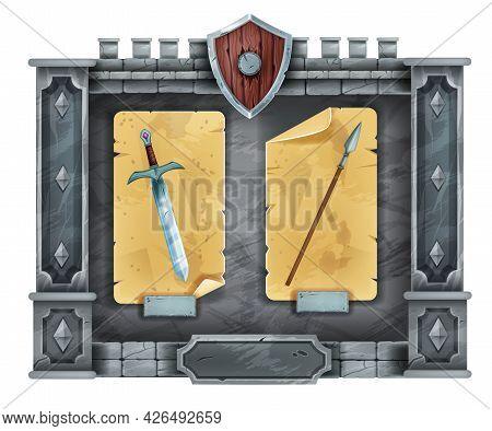 Game Stone Interface Menu, Rock Frame, Gui Medieval Castle Window Panel, Vector Ancient Pillar, Swor