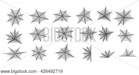 Set Of Black Silhouettes Of Spider Web. Spooky Horror Design Decoration For Halloween Party. Spooky