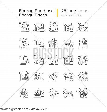 Energy Purchase Linear Icons Set. Alternative Renewable Electrical Power Cost. Energy Prices. Custom