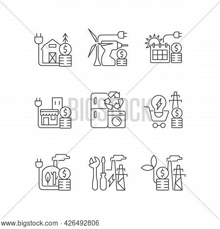 Electrical Energy Cost Linear Icons Set. Appliance Recycling Program. Electricity Consumption Price.