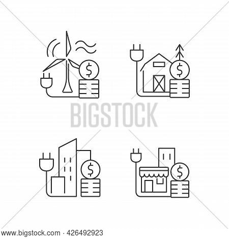Electricity Cost Linear Icons Set. Wind Energy Financial Expense. Electricity Consumption Price. Cus