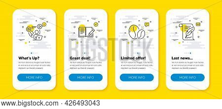 Vector Set Of Video Conference, Coffee Beans And Feedback Line Icons Set. Ui Phone App Screens With