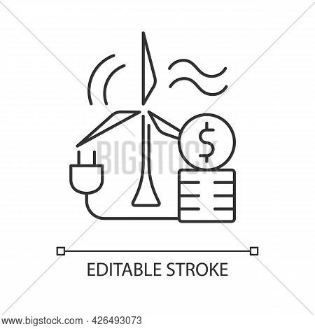 Wind Energy Price Linear Icon. Windmill For Generating Alternative Renewable Power. Thin Line Custom