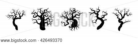 Set Of Black Silhouettes Of Trees. Spooky Horror Design Decoration For Halloween Party. Spooky Backg