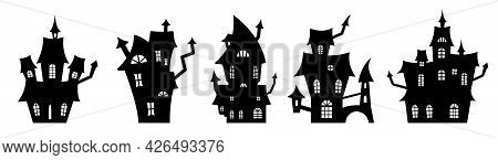 Set Of Black Silhouettes Of Haunted Houses. Spooky Horror Design Decoration For Halloween Party. Spo