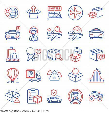 Transportation Icons Set. Included Icon As Taxi, Delivery Location, Warning Signs. Flight Time, Air