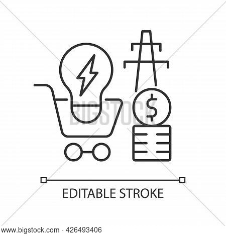 Electricity Demand Linear Icon. Electric Power Generation Cost. Utility Service. Energy Purchase. Th
