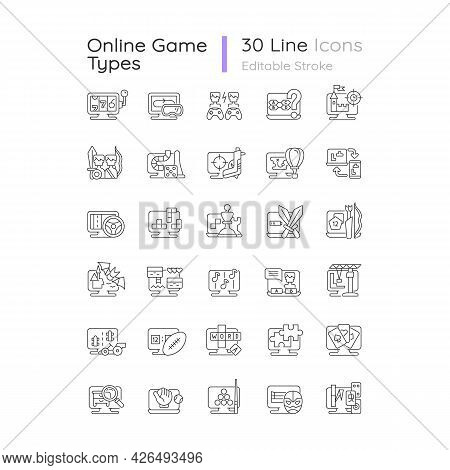 Online Game Types Linear Icons Set. Adventure Gameplay. Exciting Action Gameplay. Customizable Thin