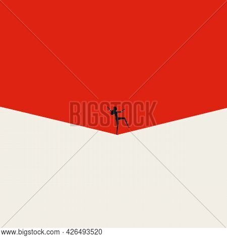 Work Life And Family Life Balance For Businesswoman, Vector Concept. Tightrope Walking Symbol. Minim