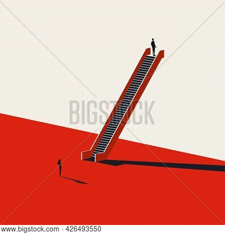 Business Gender Inequality And Discrimination Vector Concept. Symbol Of Unfair, Unequal Treatment. M