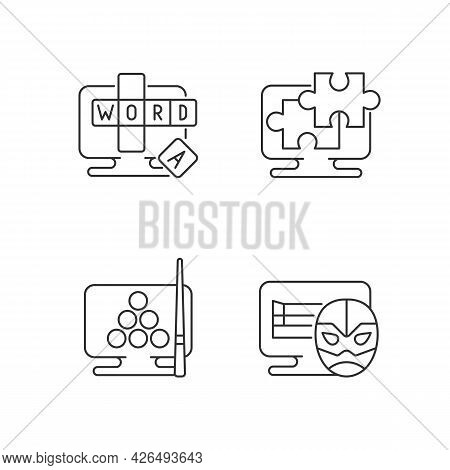 Intellectual Game Types Linear Icons Set. Online Word Guessing Game. Wrestling Matches Simulators. C