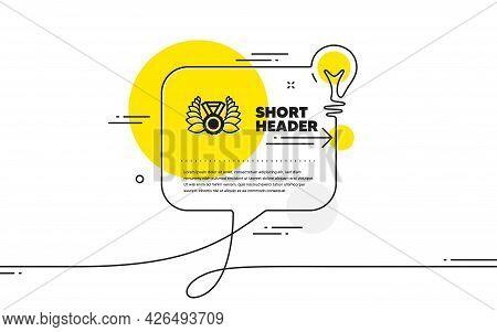 Laurel Wreath Icon. Continuous Line Idea Chat Bubble Banner. Winner Medal Symbol. Prize Award Sign.