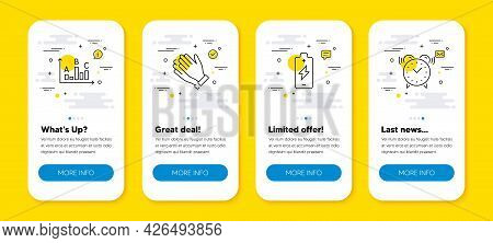Vector Set Of Battery Charging, Clapping Hands And Survey Results Line Icons Set. Ui Phone App Scree
