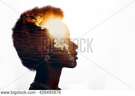 Multiple Exposure Image With Sunrise And Sea Inside African American Woman Silhouette. Black Lives M