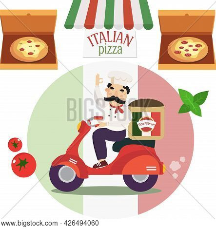 Chef On A Scooter Delivers Hot Pizza And Two Types Of Pizza In Boxes.