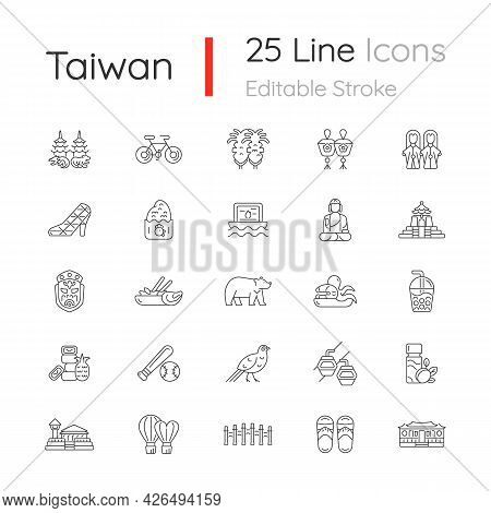 Taiwan Linear Icons Set. Taiwanese Traditional National Items. Customizable Thin Line Contour Symbol