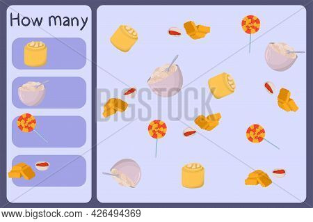 Kids Mathematical Mini Game - Count How Many Foods - Dimsum, Quark, Candy, Nuggets. Educational Game