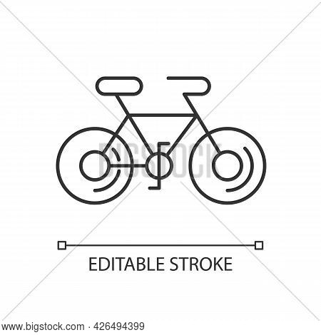 Bicycle Linear Icon. Taiwan Cycling Travel. Riding Round Entire World. Thin Line Customizable Illust