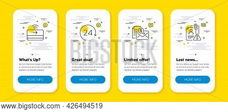 Vector Set Of Contactless Payment, 24 Hours And Accounting Report Line Icons Set. Ui Phone App Scree